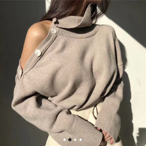 Elegant Sexy Strapless Turtleneck Loose  Pullovers Top