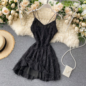 Sweet Elegant Fluffy  Backless Princess Lace Dress