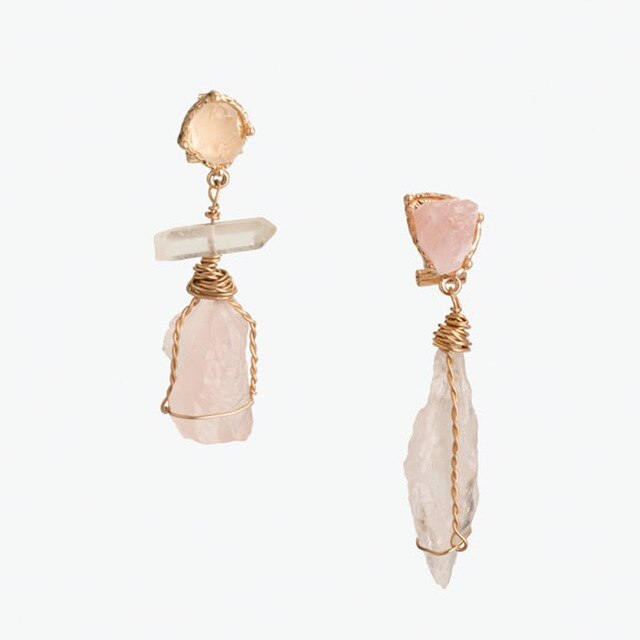 Irregular Pink Simulation Stone Resin Drop Earring