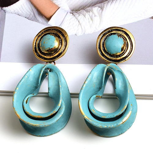 Vintage Statement Metal Oil Drop Earrings