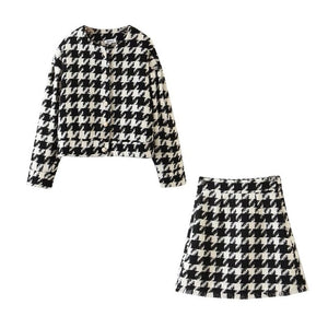 2 piece  Check Gingham Plaid Blazer &  Mini Skirt With Pearl Buttons