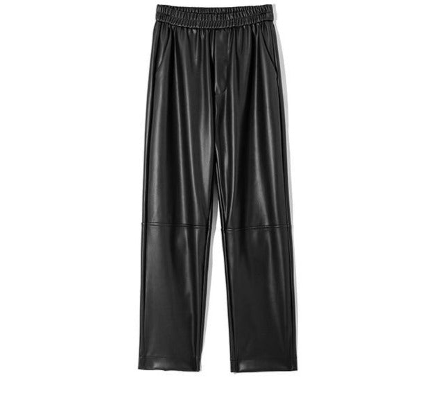 Elastic High Waist Fleece Straight Loose Leather Pants