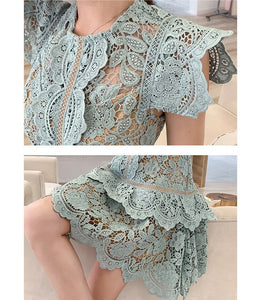 Irregular Hem Hollow Out Lace Dress Butterfly Sleeves
