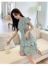 Load image into Gallery viewer, Irregular Hem Hollow Out Lace Dress Butterfly Sleeves