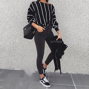 Casual O-neck Loose Striped  Batwing Sleeve Top