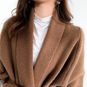 Loose And Thick Cardigan With Belt