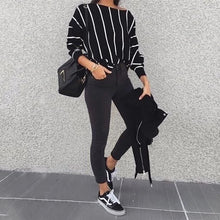 Load image into Gallery viewer, Casual O-neck Loose Striped  Batwing Sleeve Top
