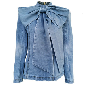 Bow Denim  Ruched Jackets