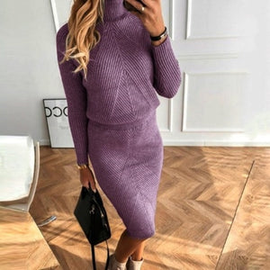 Knit Matching Set  Sweater suit + Slim Skirt Two-Piece tracksuit