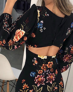 Cutout Back Floral Bodycon