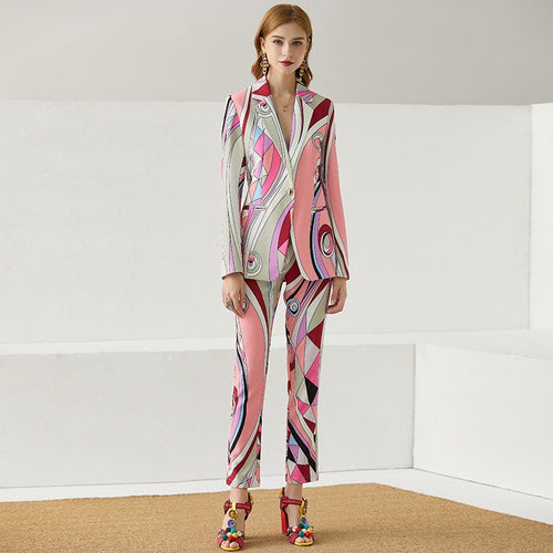 Paris Single Button Print Long Jacket and Slim Full Length Pants Suits Set