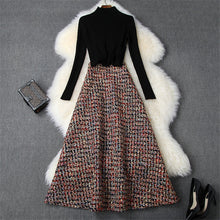 Load image into Gallery viewer, 2 Piece Set  Black Sweater and Long Tweed Woolen Skirt Suit Twinset