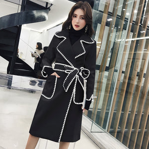 Wavy Side Embroidered notched Sleeve Coat