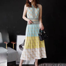 Load image into Gallery viewer, Summer sleeveless geometry Knitted Dress