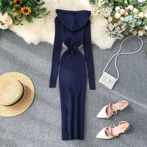 Hooded Knitted  Slim Single Breasted Vintage Bodycon Dresses