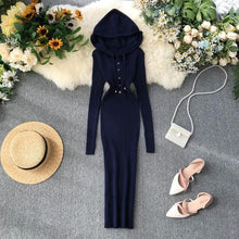 Load image into Gallery viewer, Hooded Knitted  Slim Single Breasted Vintage Bodycon Dresses