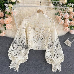 Sexy Lace Hollow Out Short Blouse