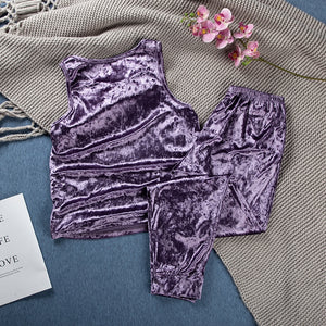 Iris Velvet Pajamas Sets Sleeveless  Lounge Wear Warm  Set