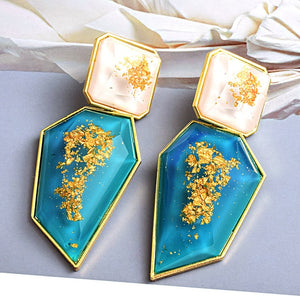 Pure Resin Drop  Crystal  Earrings