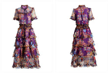 Load image into Gallery viewer, Frida Flower Print Cascading Ruffle Vintage Dresses