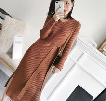 Load image into Gallery viewer, V-neck  Long Sweater Thick A-line Split Side Dress with Belt Jumper