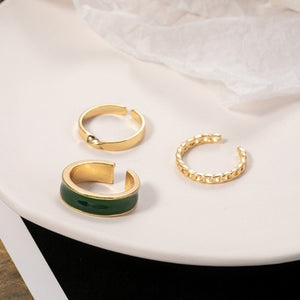 Drip Glaze Geometric Round Metal Open Rings