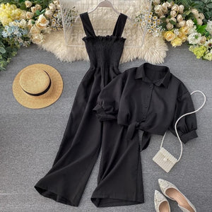 Jade Two Pieces Set - Loose Short Sunscreen Jacket + Suspending Romper