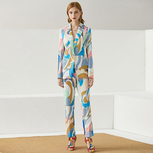 Sloane Single Button Long jacket Top and Print Full Length Pants 2 Pieces Set
