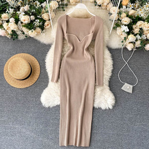Women Knitted Square Collar Korean Dress
