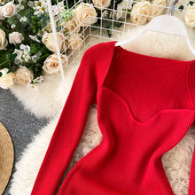 Load image into Gallery viewer, Women Knitted Square Collar Korean Dress