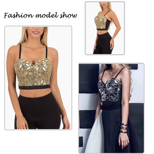 Gold Silver Sequin Cropped  Rhinestone Pearl Tank Top