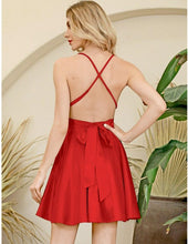 Load image into Gallery viewer, Red Deep V-neck Open Back Lace  Mini Dress