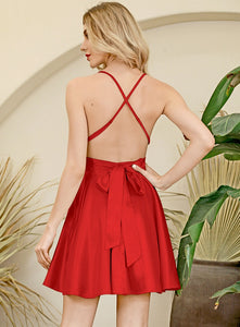 Red Deep V-neck Open Back Lace  Mini Dress
