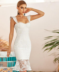 White Lace Mermaid  Dress