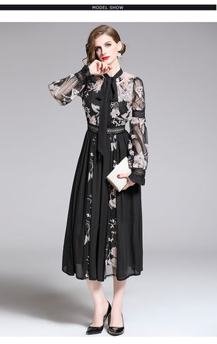 Feather  Embroidery Lace Up Long Lantern Sleeve Transparent Dress