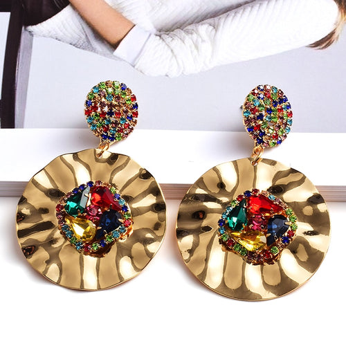 Colorful Crystals Round Metal Gold Drop Earrings