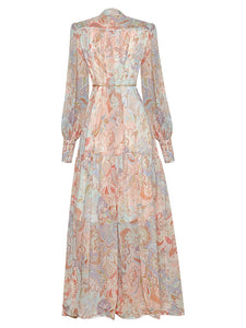 Camilla  Single Breasted Stand Up Collar  Vintage Flower Print Loose Dress