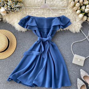Strapless Korean Ruffles A-line High Waist Dress
