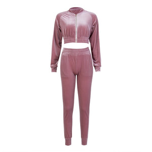 Velvet Sweatshirt Tracksuit  Pants Sets