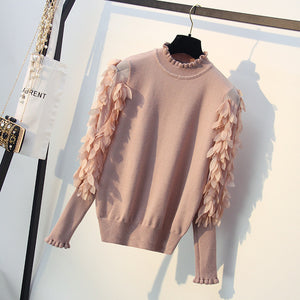 Ruffled Collar Knitted Women Sweater