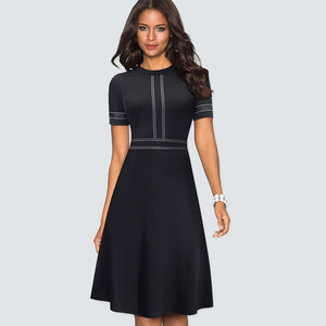 A-line  Dress Elegant Patchwork Skater Black Dress