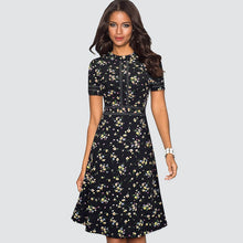 Load image into Gallery viewer, A-line  Dress Elegant Patchwork Skater Black Dress