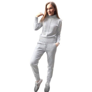 2 Piece Knitted Wool  Tracksuit Pullover Sweater & Pant