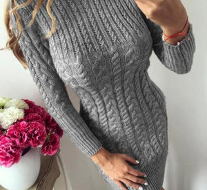 O Neck Winter Warm Sweater Dress Women Sexy Slim Bodycon