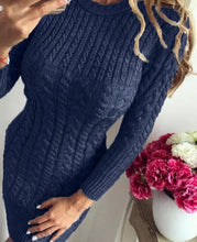 Load image into Gallery viewer, O Neck Winter Warm Sweater Dress Women Sexy Slim Bodycon