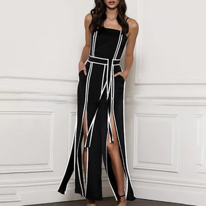 Sleeveless Jumpsuit Women Strap High Waist Split
