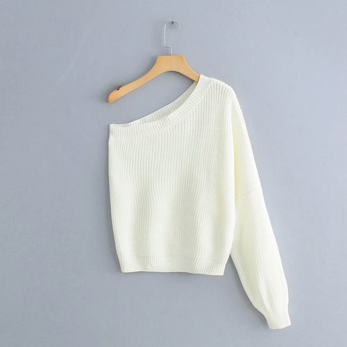 one shoulder white sweater ladies basic knitted casual loose
