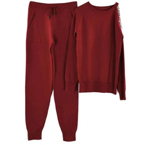 Open Shoulder Sweater Suits Top & Knitted Pants Track Suit