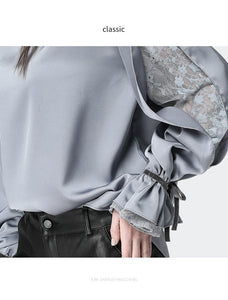 Satin  Blouse With Stand Ruffled Collar & Split Lace Sleeve