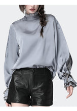 Load image into Gallery viewer, Satin  Blouse With Stand Ruffled Collar & Split Lace Sleeve